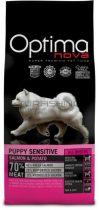 Visán Optimanova Dog Puppy Sensitive - lazac, burgonya - 0,8-2-12kg